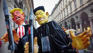 Karykatury Donalda Trumpa i Kim Dzong Una autor MikeDotta