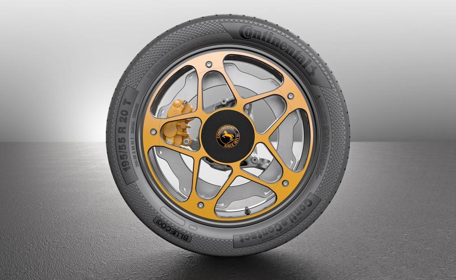 Continental New Wheel Concept - podobny patent z tarczą hamulcową stosowano w amerykańskich motocyklach Buell