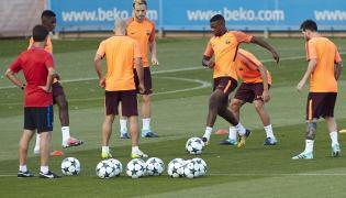 Piłkarze Barcelony na treningu przed meczem z Juventusem