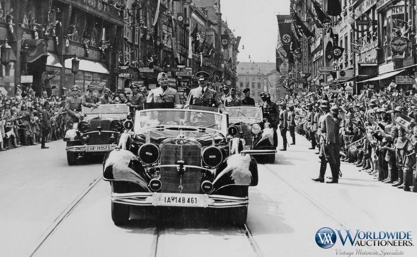 Hitler i Mussolini na pokładzie pancernego Mercedesa