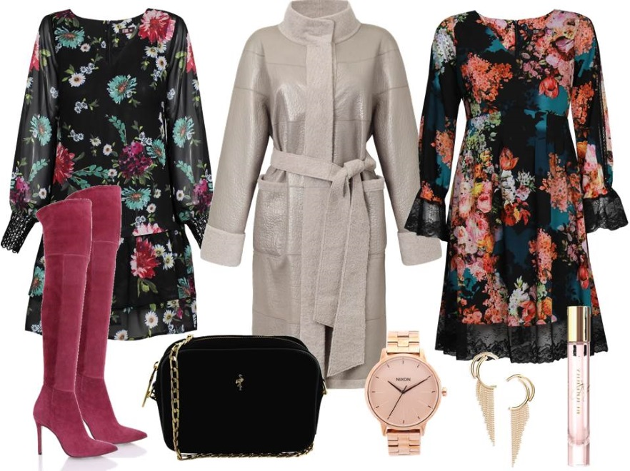 Sukienki na zimę: Sukienki- Midori Feminine Fashion/midori.pl, płaszcz – Boca/boca.pl, buty - Gianmarko/gianmarko.com.pl, torebka - Menbur/menbur.pl, dodatki – TK MAXX