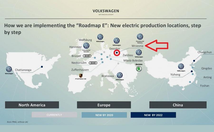 Mapa 16 fabryk, które zajmą się produkcją elektrycznych aut. Zakład we Wrześni wyprodukuje e-Crafterta