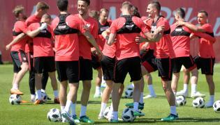 Piłkarska reprezentacja Polski podczas treningu na obozie regeneracyjnym kadry w Jastarni