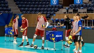 Siatkarze reprezentacji Polski podczas treningu