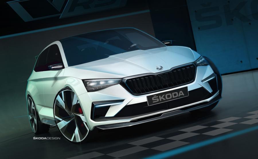 Skoda Vision RS mierzy 4356 mm długości, 1810 mm szerokości oraz tylko 1431 mm wysokości, a rozstaw osi to 2650 mm. To oznacza, że nowe auto jest ciut krótsze od aktualnego modelu Rapid, ale oferuje rozstaw osi porównywalny z Octavią