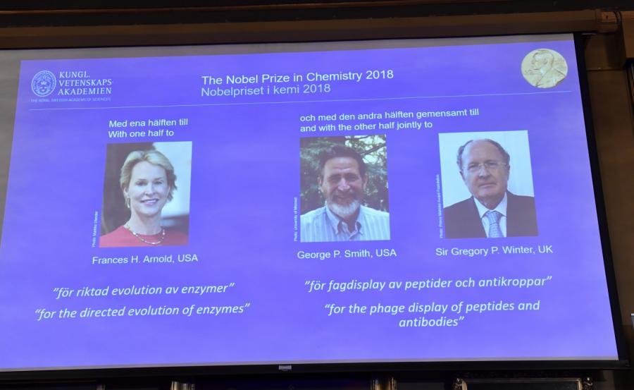 Frances H. Arnold, George P. Smith i Sir Gregory P. Winter zostali tegorocznymi laureatami Nagrody Nobla w dziedzinie chemii