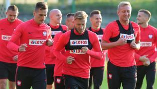 Piłkarze reprezentacji Polski Arkadiusz Milik (2L), Jakub Błaszczykowski (C) i Kamil Glik (2P)
