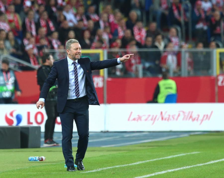 Trener reprezentacji Polski Jerzy Brzęczek podczas meczu z Włochami w Lidze Narodów