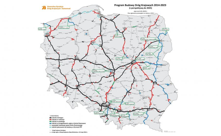GDDKiA: w 2019 r. przetargi na budowę dróg o wartości 20 mld zł