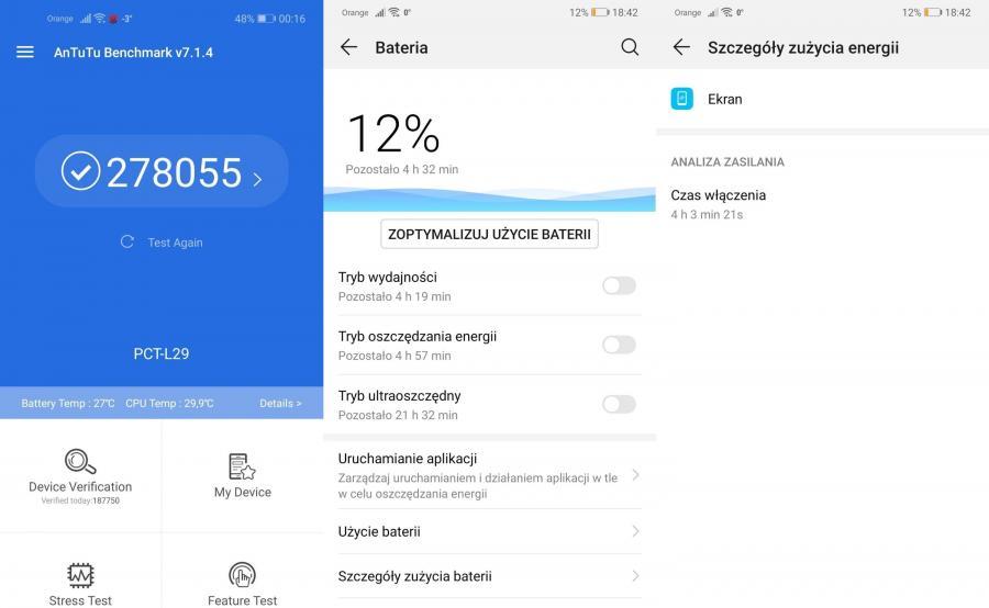 Huawei Mate 20 - AnTuTu Benchmark, czas pracy na baterii