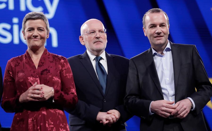 Margrethe Vestager, Frans Timmermans i Manfred Weber