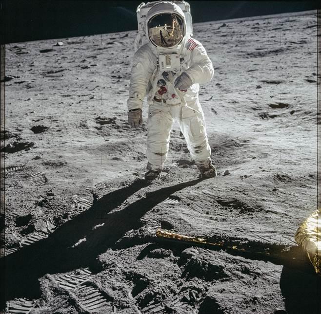 Buzz Aldrin na powierzchni Księżyca, Morze Spokoju, 20.07.1969. Fot. Neil Armstrong/ NASA