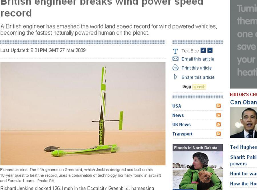 Samochód na wiatr pobił rekord prędkości