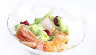 Guacamole z pieczonymi krewetkami