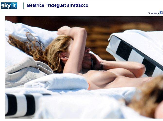 Żona Davida Trezegueta opala się topless