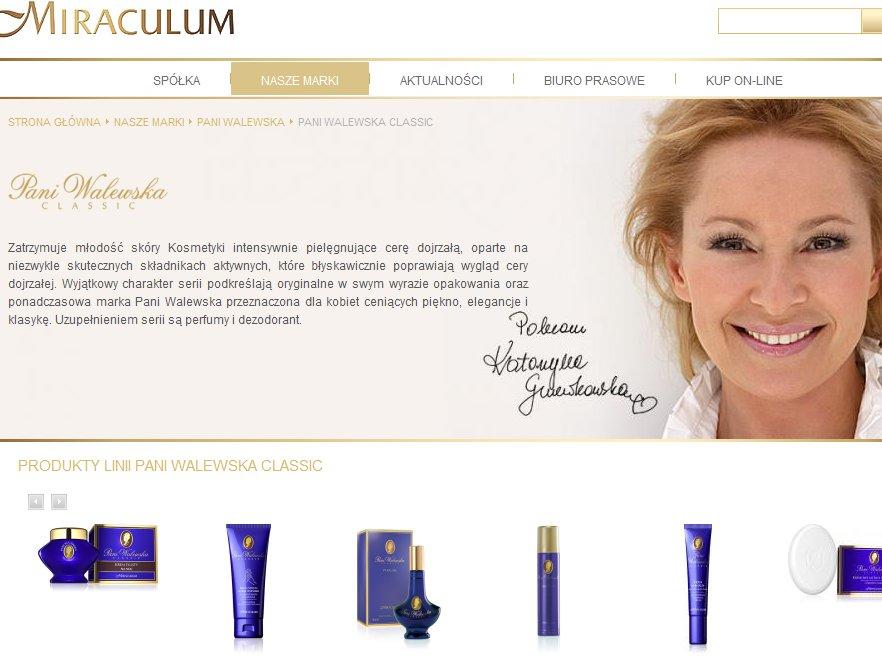 Katarzyna Gniewkowska promuje kosmetyki marki Pani Walewska. Źródło: www.miraculum.pl