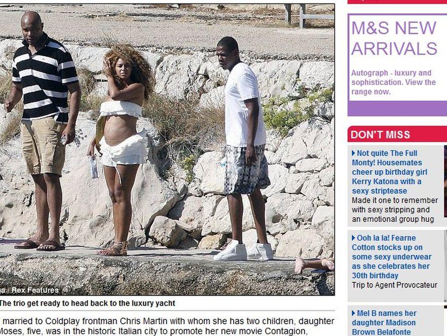 Beyonce w bikini pokazuje ciążowy brzuszek. Źródło: dailymail.co.uk