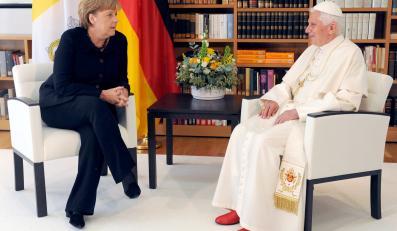 Papież Benedykt XVI z kanclerz Niemiec Angelą Merkel