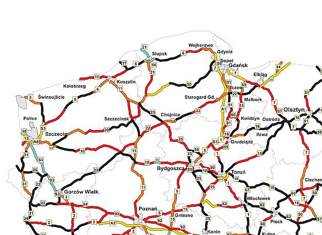 Mapa ryzyka indywidualnego - Polska północno-zachodnia/źródło EuroRAP