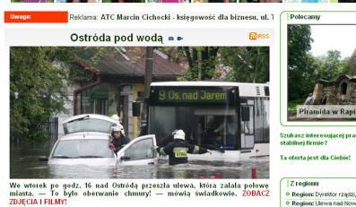 Zobacz, jak ulewa zatopiła Ostródę