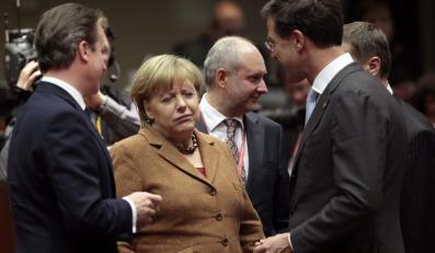 David Cameron, Angela Merkel i holenderski premier