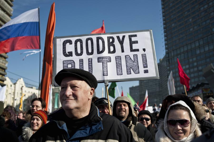 Jedna z antyputinowskiej demonstracji w Moskwie