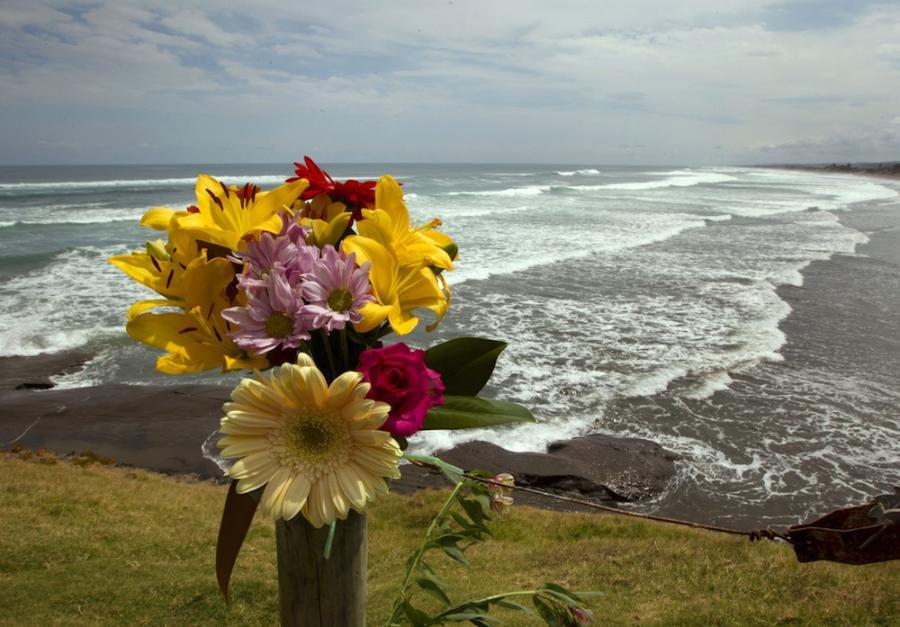 Kwiaty na plaży Muriwai w hołdzie Adamowi Strange\'owi