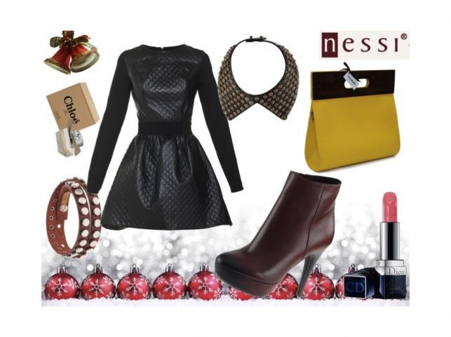 Stylizacja 1: torebka - Moo Studio,  bransoleta - Cowboysbelt, kołnierzyk - Replay, sukienka – Papillon, buty Nessi www.nessi.com.pl