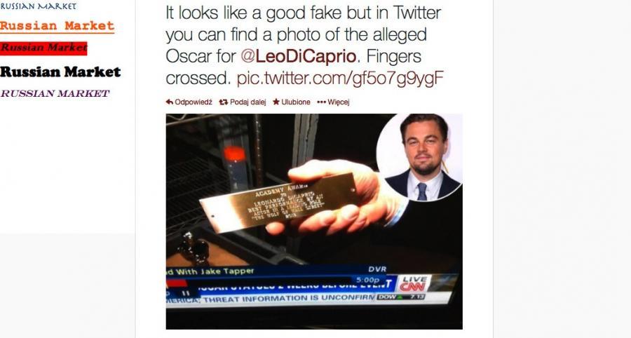 Zdjęcie oscarowej tabliczki dla DiCaprio już krąży w sieci