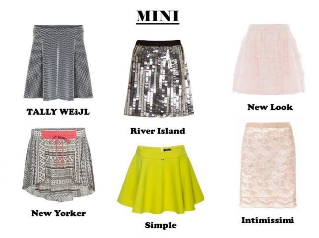 Modne spódnice MINI na lato 2014: TALLY WEiJL: 79,90 pln New Yorker: 59,95 pln River Island: 129,00 zł Simple: 329,90 pln New Look: 89,99 pln Intimissimi: 134,90 pln