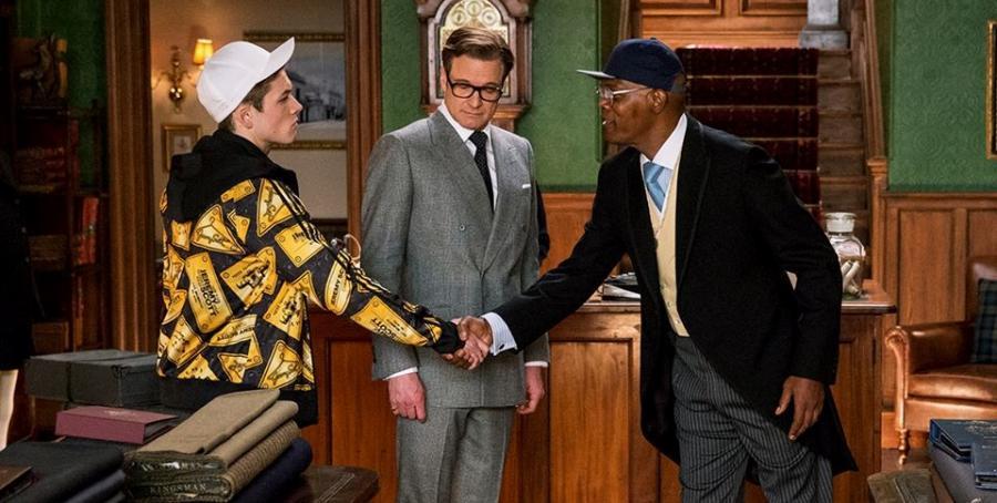 "Colin Firth, Taron Egerton i Samuel L. Jackson w filmie ""Kingsman: Tajne służby"""