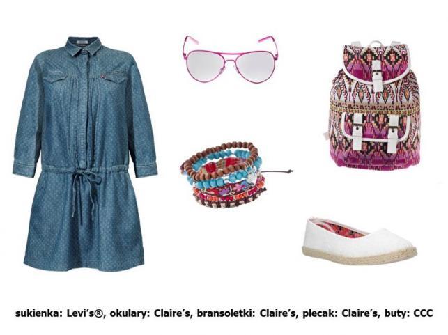 Sukienka Levi's®: 409 pln Okulary Claire's: 39,90 pln Bransoletki Claire's: 31,90 pln Plecak Claire's: 119,90 pln Buty CCC: 39,90 pln