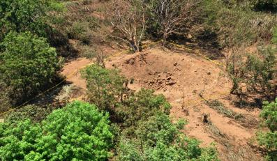 Krater po uderzeniu meteorytu w Managui, Nikaragua