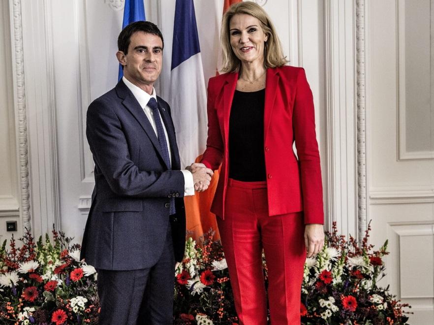 Premier Danii Helle Thorning-Schmidt i premier Francji Manuel Valls