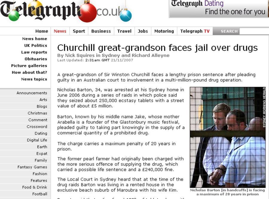 Prawnuk Churchilla poszedł siedzieć