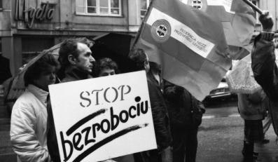 Demonstracja Ogólnopolskiego Porozumienia Związków Zawodowych, kwiecień 1991