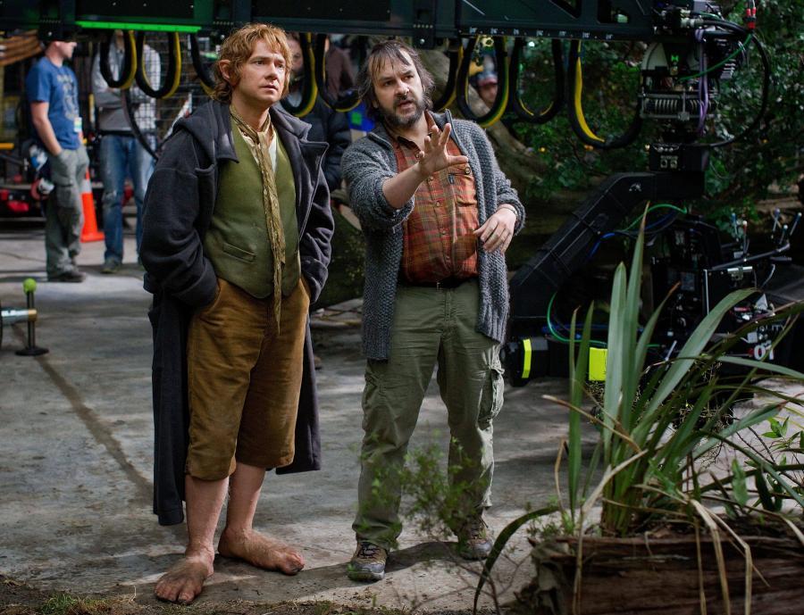 Martin Freeman i Peter Jackson na planie filmu \