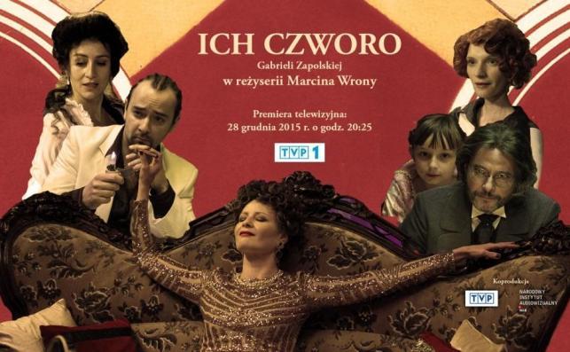 "plakat spektaklu Teatru Telewizji ""Ich czworo"""
