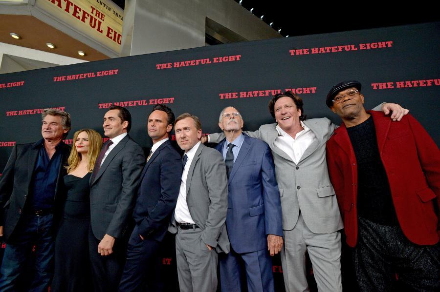 "Gwiazdy ""Nienawistnej ósemki"": Kurt Russell, Jennifer Jason Leight, Demián Bichir, Walton Goggins, Tim Roth, Bruce Dern, Michael Madsen, Samuel L. Jackson"