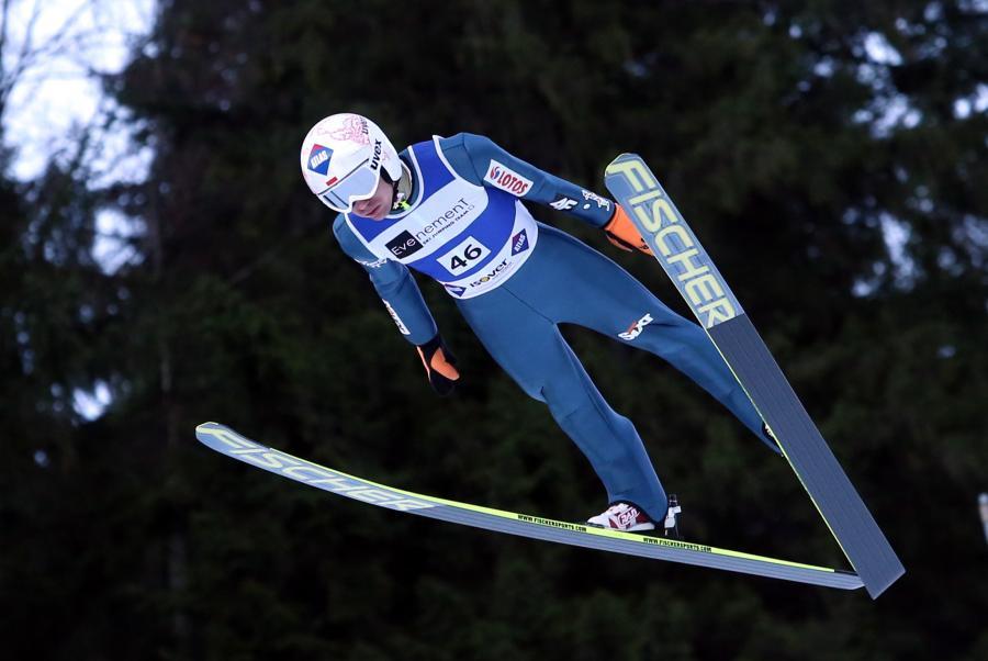 Kamil Stoch podczas indywidualnego treningu na Wielkiej Krokwi w Zakopanem