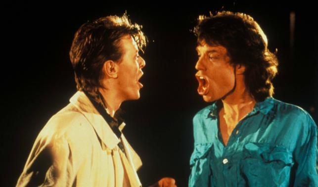 David Bowie i Mick Jagger w 1985 roku