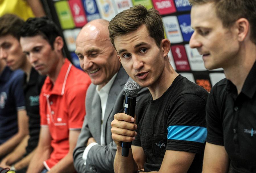 Marek Rutkiewicz, dyrektor TdP Czesław Lang, Michał Kwiatkowski i Michał Gołaś, podczas konferencji prasowej przed 73. Tour de Pologne