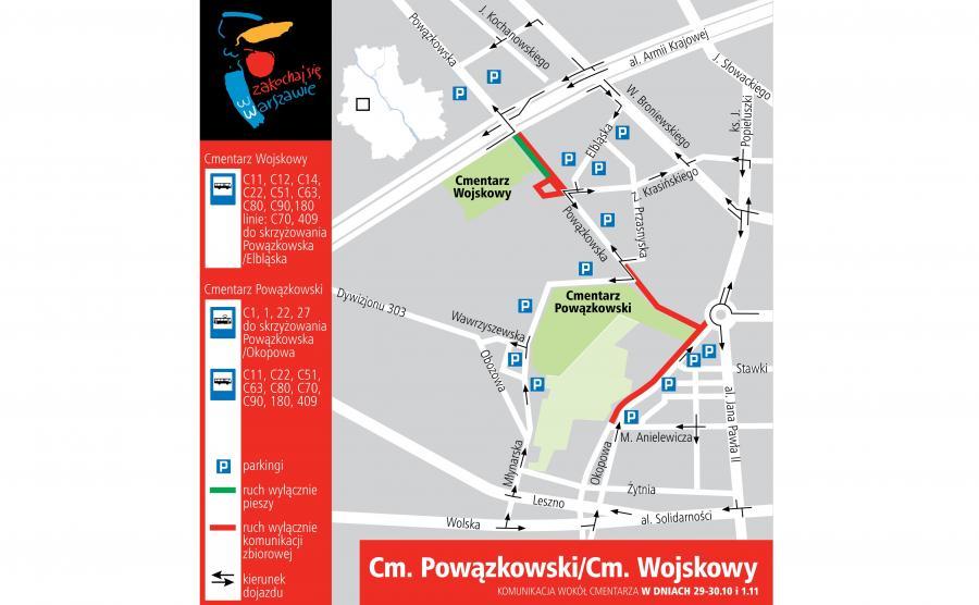 Cmentarz Powązkowski i Cmentarz Wojskowy - dojazd 29-30 października i 1 listopada 2016