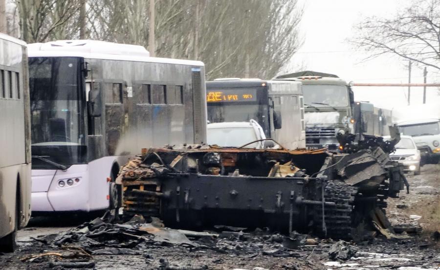 Wrak czołgu w Donbasie